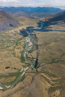 Aerial of river in the Brooks Range mountains, Gates of the Arctic National Park, Alaska.