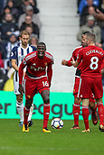 30th September 2017, The Hawthorns, West Bromwich, England; EPL Premier League football, West Bromwich Albion versus Watford; Abdoulaye Doucouré of Watford shouting his disapproval of the referees decision