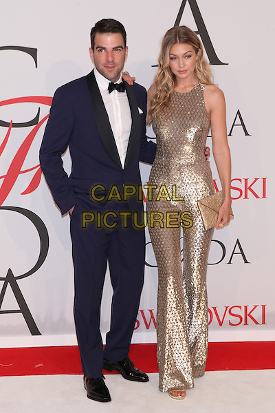 NEW YORK, NY - JUNE 1: Zachary Quinto and Gigi Hadid at the 2015 CFDA Fashion Awards at Alice Tully Hall, Lincoln Center in New York City on June 1, 2015. <br /> CAP/MPI/COR99<br /> &copy;COR99/MPI/Capital Pictures