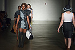 Models walk runway in outfits from the Rorisang Ratsui collection for Free Fashion Week at Cope NYC, on October 11, 2019, during Fashion Week Brooklyn Spring Summer 2020.