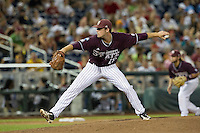 Mississippi State pitcher Chad Girodo (18) delivers a pitch to the plate against the Indiana Hoosiers during Game 6 of the 2013 Men's College World Series on June 17, 2013 at TD Ameritrade Park in Omaha, Nebraska. The Bulldogs defeated Hoosiers 5-4. (Andrew Woolley/Four Seam Images)