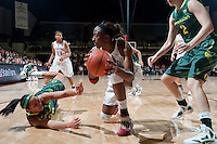 STANFORD, CA-JANUARY 5, 2012 - Nnemkadi Ogwumike wins the rebound during PAC-12 conference play against the University of Oregon. The Cardinal won the game 93-70.