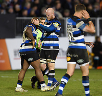 Matt Garvey and Beno Obano of Bath Rugby. Aviva Premiership match, between Bath Rugby and Wasps on December 29, 2017 at the Recreation Ground in Bath, England. Photo by: Patrick Khachfe / Onside Images