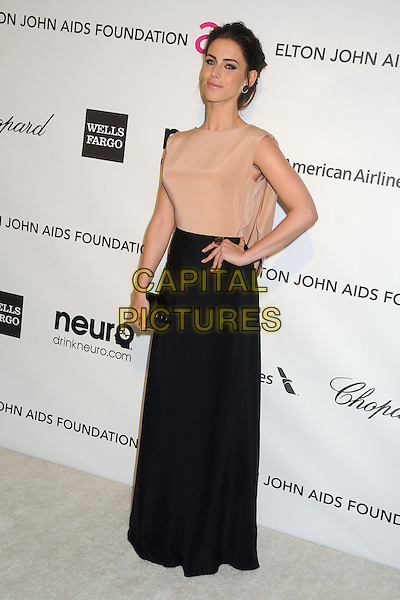 Jessica Lowndes.21st Annual Elton John Academy Awards Viewing Party held at West Hollywood Park, West Hollywood, California, USA..February 24th, 2013.oscars full length dress beige sheer sleeveless black skirt clutch bag hand on hip.CAP/ADM/BP.©Byron Purvis/AdMedia/Capital Pictures.