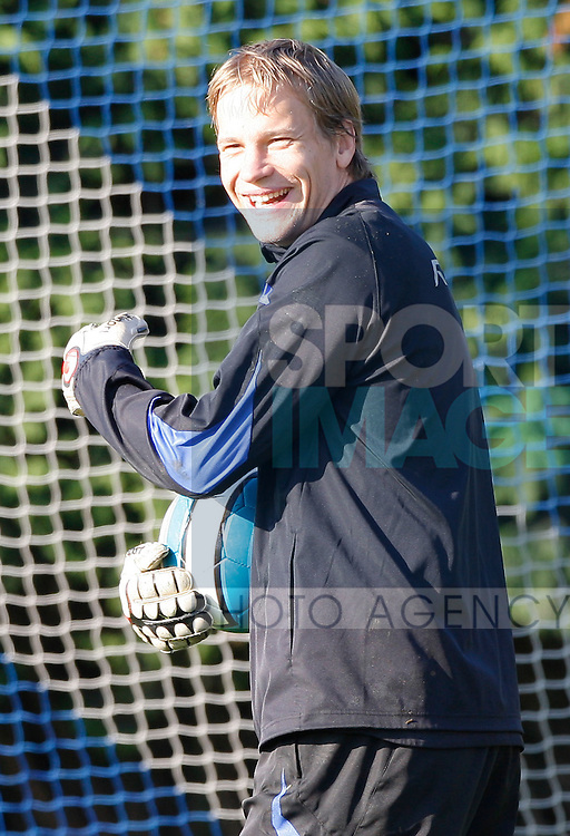 Jussi Jaaskelainen of Bolton Wanderers enjoys training before there UEFA cup match against Braga on Thursday night