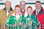 PROGRAMMES:John and Niall Kennedy Duagh who helped to give out programmes on the under 16 International match between Ireland and Germany at Pat kennedy Soccer Park, Listowel on Thursday also in pic are Listowel an Celtic and Irish supporters, Noel and Noel Downey Jnr and James McCarthy(Abbeyfeale). ..   Copyright Kerry's Eye 2008