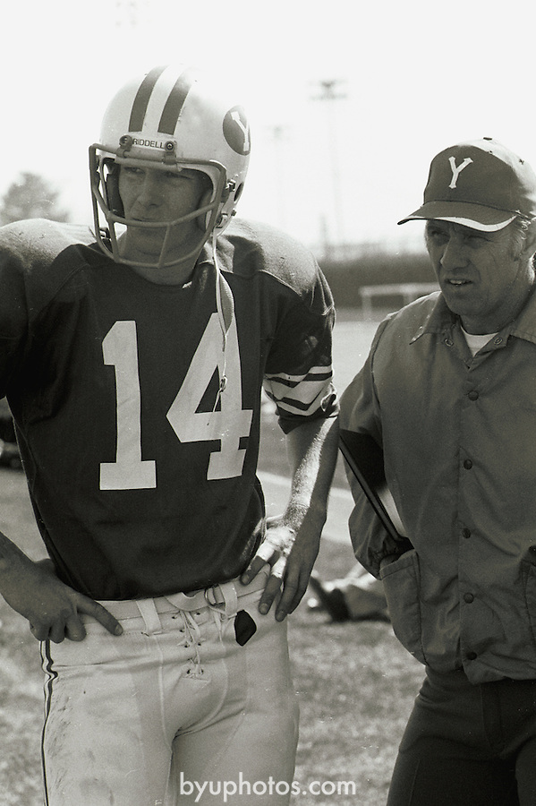 0908-08 Robert K. Thomas Scholars<br /> FTB 104 A-41<br /> <br /> BYU Spring Game, 14 Gifford Nielsen, Coach Dave Kragthorpe<br /> <br /> April 10, 1976<br /> <br /> Photo by Mark Philbrick/BYU<br /> <br /> © BYU PHOTO 2009<br /> All Rights Reserved<br /> photo@byu.edu  (801)422-7322