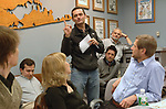 Robert Mecea speaking at a staff meeting at Newsday on March 15, 2007. Photograph by Jim Peppler.