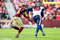 Landover, MD - November 18, 2018: Washington Redskins cornerback Josh Norman (24) and Houston Texans wide receiver DeAndre Hopkins (10) during first half action of game between the Houston Texans and the Washington Redskins at FedEx Field in Landover, MD. (Photo by Phillip Peters/Media Images International)