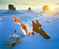 Monument Valley Sunrise, Monument Valley Tribal Park, Arizona/Utah    Rare heavy snows covering Mitten Buttes  Adams Rocks in foreground