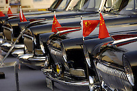 Old Red flag sedans at the 2006 International Automotive Exhibition in Beijing, China..