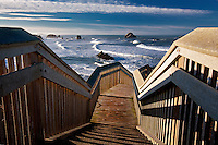 Stairs leading to beach at Bandon, Oregon