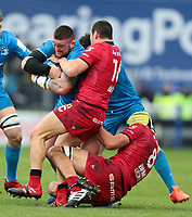 12th January 2020; RDS Arena, Dublin, Leinster, Ireland; Heineken Champions Champions Cup Rugby, Leinster versus Lyon Olympique Universitaire; Andrew Porter (Leinster) holds on to the ball as he is tackled by Jeremie Maurouard (Lyon) and Virgile Bruni (Lyon)  - Editorial Use