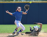Makaylee Jaussi makes the out at second for the Western Nevada College Wildcats during a preseason game against Shasta College in Reno, Nev., on Saturday, Sept. 20, 2014. The Wildcats won the opener 4-0.<br /> Photo by Cathleen Allison