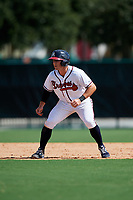 GCL Braves designated hitter Michael Mateja (14) leads off second base during the first game of a doubleheader against the GCL Yankees West on July 30, 2018 at Champion Stadium in Kissimmee, Florida.  GCL Yankees West defeated GCL Braves 7-5.  (Mike Janes/Four Seam Images)
