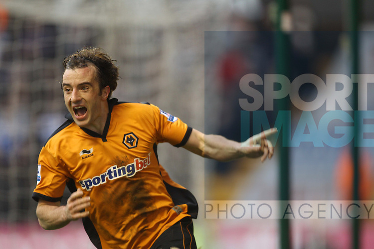 Steven Hunt of Wolves celebrates his goal, the first of the game.