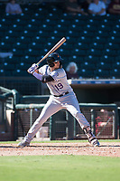 Salt River Rafters third baseman Josh Fuentes (19), of the Colorado Rockies organization, at bat during an Arizona Fall League game against the Surprise Saguaros on October 9, 2018 at Surprise Stadium in Surprise, Arizona. The Rafters defeated the Saguaros 10-8. (Zachary Lucy/Four Seam Images)
