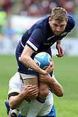 17th March 2018, Stadio Olimpico, Rome, Italy; NatWest Six Nations rugby, Italy versus Scotland; Finn Russell (front) of Scotland is challenged by Sebastian Negri Da Oleggio of Italy