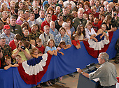 Martinsburg, WVa - July 4, 2007 -- United States President George W. Bush makes remarks to the West Virginia Air National Guard 167th Airlift Wing and other guests on base in Martinsburg, West Virginia, on July 4, 2007. <br /> Credit: Roger L. Wollenberg - Pool via CNP