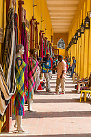 Cartagena, Colombia.  Las Bovedas (The Dungeons), Shops Selling Handicrafts, Fabrics, and other Souvenirs for the Tourist Trade.