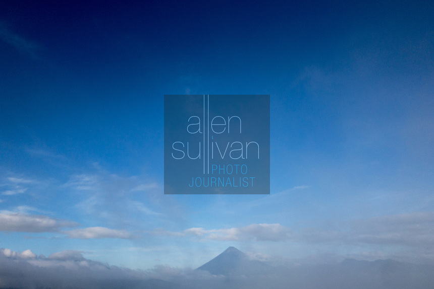 Volcan Agua in the early morning as seen from east of the peak in Guatemala, Central America on November 3, 2017.
