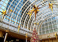A decorated Christmas Tree is shown at the Wachovia atrium. Christmas Scenes in the Uptown Charlotte.