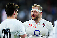 A bloodied James Haskell of England is all smiles after the match. RBS Six Nations match between France and England on March 19, 2016 at the Stade de France in Paris, France. Photo by: Patrick Khachfe / Onside Images