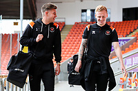 Blackpool's Jack Sims shares a joke with Callum Guy as they arrive at Bloomfield Road<br /> <br /> Photographer Alex Dodd/CameraSport<br /> <br /> The EFL Sky Bet League One - Blackpool v MK Dons  - Saturday September 14th 2019 - Bloomfield Road - Blackpool<br /> <br /> World Copyright © 2019 CameraSport. All rights reserved. 43 Linden Ave. Countesthorpe. Leicester. England. LE8 5PG - Tel: +44 (0) 116 277 4147 - admin@camerasport.com - www.camerasport.com