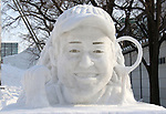 February 3, 2019, Sapporo, Japan - A snow sculpture of Australian Open tennis champion Naomi Osaka is displayed at the 70th annual Sapporo Snow Festival in Sapporo in Japan's nortern island of Hokkaido on Sunday, February 3, 2019. The week-long snow festival will open on February 4 through February 11 and over 2.5 million people are expecting to visit the festival.   (Photo by Yoshio Tsunoda/AFLO) LWX -ytd-