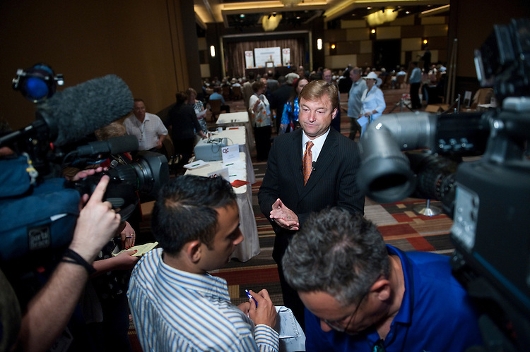 UNITED STATES - JULY 9: Sen. Dean Heller, R-Nev., prepares to answer questions from the local media at the 2011 Conservative Leadership Conference at the M Resort Spa Casino in Las Vegas on Saturday, July 9, 2011. (Photo By Bill Clark/Roll Call)
