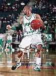 North Texas Mean Green guard Dominique Johnson (1) in action during the NCAA  basketball game between the South Alabama Jaguars and the University of North Texas Mean Green at the North Texas Coliseum,the Super Pit, in Denton, Texas. UNT defeated South Alabama 82 to 79...