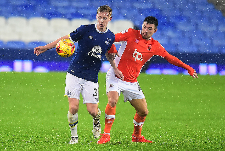 Harry Charsley of Everton competes with Michael Cain of Blackpool<br /> <br /> Photographer Richard Martin-Roberts/CameraSport<br /> <br /> The Checkatrade Trophy - Northern A - Everton U21 v Blackpool - Tuesday 8th November 2016 - Goodison Park - Liverpool<br />  <br /> World Copyright &copy; 2016 CameraSport. All rights reserved. 43 Linden Ave. Countesthorpe. Leicester. England. LE8 5PG - Tel: +44 (0) 116 277 4147 - admin@camerasport.com - www.camerasport.com