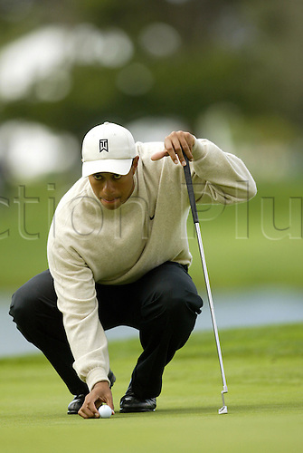 26 February 2003: Tiger Woods lines up a putt during the first round of the 2003 WGC Accenture Match Play Golf Championship at LaCosta Resort in Carlsbad, CA, USA. Photo: Darren Carroll/Icon/Action Plus...030226.PGA putting putter putts american golfer men man mens