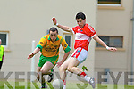 Gneeveguilla's Padraig O'Riordan fails to stop Daithi O Geibheannaigh scoring Dingle's opening goal last Sunday afternoon in Gneeveguilla for round 2 of the Garvey's Supervalue County Senior Championship...1st GOAL