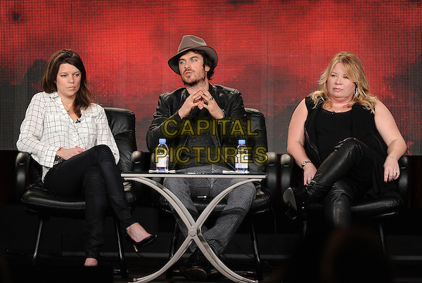 PASADENA, CA - JANUARY 11: (L-R) Executive Producer Caroline Dries, Ian Somerhalder, and Executive Producer Julie Plec attend The Vampire Diaries and The Originals presentation at the CW 2015 Winter Television Critics Association (TCA) press tour at The Langham Huntington Hotel and Spa on January 11, 2015 in Pasadena, California. <br /> CAP/MPI/PGFM<br /> &copy;PGFM/MPI/Capital Pictures