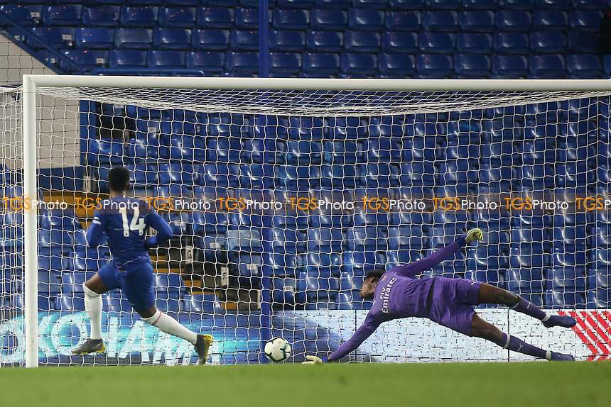 Daishawn Redan scores Chelsea's opening goal during Chelsea Under-23 vs Arsenal Under-23, Premier League 2 Football at Stamford Bridge on 15th April 2019