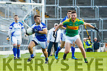 Matthew O'Sullivan South Kerry in action against Danny O'Sullivan Kerins O'Rahillys in the Kerry Senior Football Championship Semi Final at Fitzgerald Stadium on Saturday.