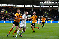 Leeds United's Stuart Dallas shields the ball from Hull City's Matthew Pennington<br /> <br /> Photographer Alex Dodd/CameraSport<br /> <br /> The EFL Sky Bet Championship - Hull City v Leeds United - Saturday 29th February 2020 - KCOM Stadium - Hull<br /> <br /> World Copyright © 2020 CameraSport. All rights reserved. 43 Linden Ave. Countesthorpe. Leicester. England. LE8 5PG - Tel: +44 (0) 116 277 4147 - admin@camerasport.com - www.camerasport.com