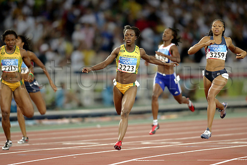 25 August 2004: Jamaican sprinter VERONICA CAMPBELL (JAM) wins the Women's 200m Final at The 2004 Olympic Games, Athens, Greece. Campbell won in a time of 22.05 seconds Photo: Glyn Kirk/Action Plus...040825 athletics athlete sprint