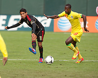 San Francisco, California - Saturday March 17, 2012: Javier Aquino and Arthur Yannick Gomis in action during the Mexico vs Senegal U23 in final Olympic qualifying tuneup. Mexico defeated Senegal 2-1