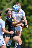 Texas State defender Brenna Smith (3) gets in front of an Appalachian State player for a header during first half of an NCAA soccer game, Sunday, October 05, 2014 in San Marcos, Tex. Texas State leads 1-0 at the halftime. (Mo Khursheed/TFV Media via AP Images)