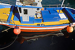 Colourful fishing boat in the harbour of Los Abrigos, Tenerife, Canary Islands, Spain