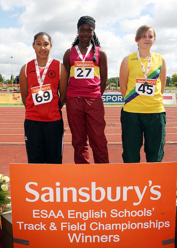 Photo: Rich Eaton/Sportsbeat Images...Sainsbury's English Schools Track and Field Championships, Birmingham. 14/07/2007. Junior Girls Javelin winners l-r bronze Charlotte Kanini-Parsons of Somerset, gold Kike Oniwinde of Essex and silver Amber Burdett of Leicester