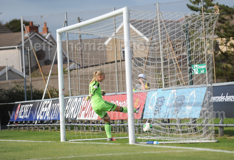 Goalkeeper Louise Hogrell of Sweden is devastated at letting in another Norweigan goal during the UEFA Womens U19 Championships at Stebonheath park Sunday 25th August 2013. All images are the copyright of Jeff Thomas Photography-www.jaypics.photoshelter.com-07837 386244-Any use of images must be authorised by the copyright owner.