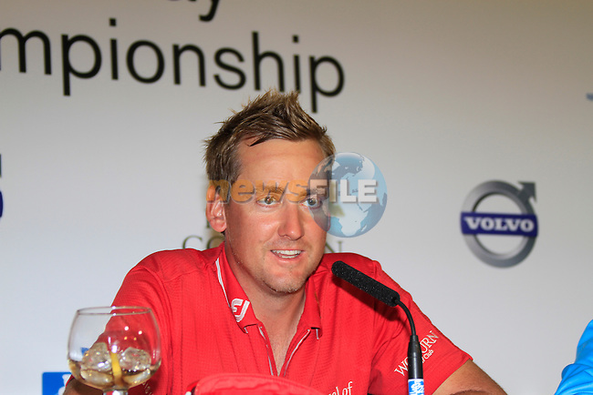 Ian Poulter being intervieved after winning his match at the end of the afternoon Quarter Final session on Day 3 of the Volvo World Match Play Championship in Finca Cortesin, Casares, Spain, 21st May 2011. (Photo Eoin Clarke/Golffile 2011)