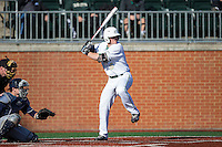Harris Yett (8) of the Charlotte 49ers at bat against the Xavier Musketeers at Hayes Stadium on March 3, 2017 in Charlotte, North Carolina.  The 49ers defeated the Musketeers 2-1.  (Brian Westerholt/Four Seam Images)