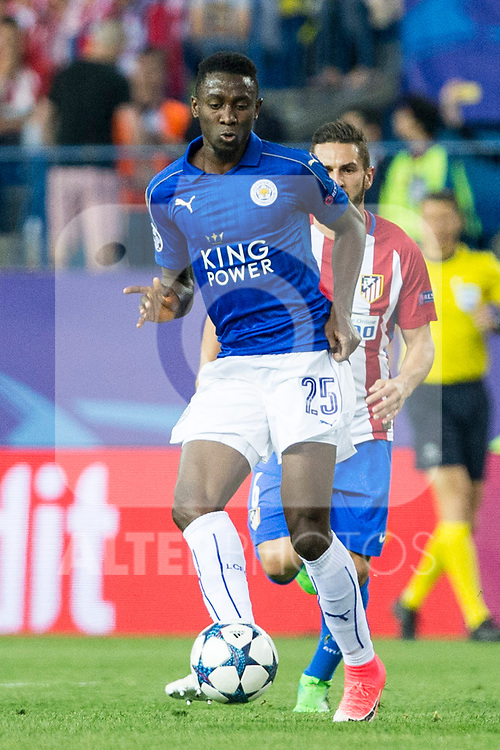 Wilfred Ndidi of Leicester City Football Club  during the match of  Champions LEague between  Atletico de Madrid and LEicester City Football Club at Vicente Calderon  Stadium  in Madrid, Spain. April 12, 2017. (ALTERPHOTOS / Rodrigo Jimenez)