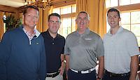 NWA Democrat-Gazette/CARIN SCHOPPMEYER Tom Gillespie (from left), Blake Liddel, Joe Farnan and Patrick McBride represent E&J Gallo in the Golf Event.