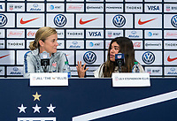 CHICAGO, IL - OCTOBER 6: Jill Ellis of the United States talks during a press conference with her daugher, Lily Stephenson-Ellis during a game between Korea Republic and USWNT at Soldier Field on October 6, 2019 in Chicago, Illinois.