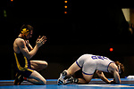 LA CROSSE, WI - MARCH 11: Logan Hermsen of Wisconsin-Stevens Point tangles up with Stephen Jarrell of Johnson & Wales in the 165 weight class during NCAA Division III Men's Wrestling Championship held at the La Crosse Center on March 11, 2017 in La Crosse, Wisconsin. Hermsen beat Jarrell 4-2 to win the National Championship. (Photo by Carlos Gonzalez/NCAA Photos via Getty Images)